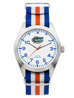 Jack Mason Brand Florida Gators Nato Strap Striped Watch.