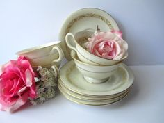 Vintage Carlton by Castleton Cream Gold Teacups & by thechinagirl