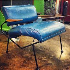 Gorgeous cobalt blue leather vintage Dan Johnson chairs circa 1960's.  the595project