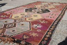 "5'8"" X 12'10"" // Antique Hand Woven Turkish Kilim Flat Weave //  #TurkishKilm #Kilim #Handmade #Handmaderug #rug"