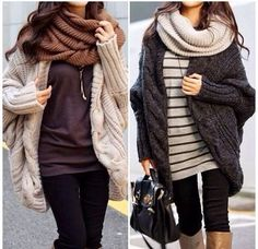 big cardis + scarves + boots