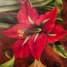 Amryllis. A spectacular painting by Mrinalini Singh.