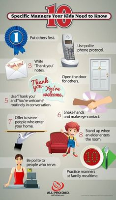 10 Manners Every Kids Need To Know With Infographic. Good Manners Don't Grow On Trees, Nor Do They Attach Themselves To Kids Without Some Deliberate Teaching And Modeling. Here Is A Manners Infographic With 10 Manners Your Kids Need To Know. Kids And Parenting, Parenting Hacks, Peaceful Parenting, Gentle Parenting, Mindful Parenting, Parenting Classes, Manners For Kids, Teaching Manners, Teaching Kids Respect