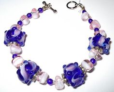 Blue & Pink Bracelet with Lampwork Beads Hand Made in the USA
