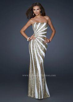 White/Gold La Femme Designer Formal Cocktail Party Dress