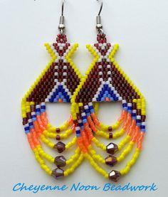 Native American Beaded Earrings Tipis Rainbow by CheyenneNoon