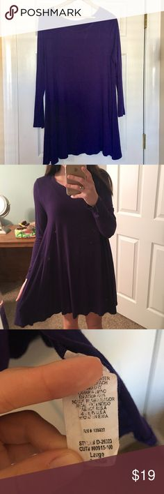 Purple Stretchy Swing Dress Honestly the most comfortable dress you'll ever wear! Pairs perfectly with tights, booties and a scarf! Dresses