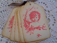 Little Girl Handmade Gift Tags -  Vintage style
