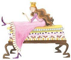 Monica Carretero Illustration - monica carretero, traditional, paint, painted, watercolour, ink, watercolor, picture book, fiction, educational, commercial, trade, people, women, woman, ladies, lady, princess, princesses, mattresses, princess and the pea