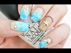 Spring Break: Water Spotted Beach Nails (2 Ways!) - YouTube This is so beautiful!!!