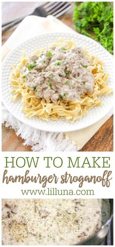 Creamy, savory hamburger stroganoff is a perfect weeknight dinner. It is full of flavor and comes together quickly. #stroganoff #hamburgerstroganoff #weeknightdinner #easydinner #maindish Hamburger Stroganoff, Stroganoff Recipe, Entree Recipes, Dinner Recipes, Cooking Recipes, Brunch Recipes, Easy Family Dinners, Quick Easy Meals, Easy Dinners