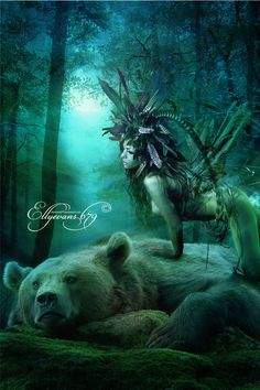 Totem Spirit - Bear  The power of the Bear totem is the power of introspection.The answers to all our questions lie quietly within us. Bear makes lonely periods of life far easier so that periods of isolation can become valuable time to gain deep insights.    The bear spirit guide helps to heal mental, physical and spiritual wounds with intuition and self-assured courage. He guides you to be fearless in defending your beliefs ~ ellyevans679.deviantart.com