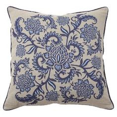 """Down-filled linen pillow with an indigo floral motif and matching piping.    Product: PillowConstruction Material: Linen cover and down fillColor: Indigo and whiteFeatures: Insert includedDimensions: 22"""" x 22"""""""