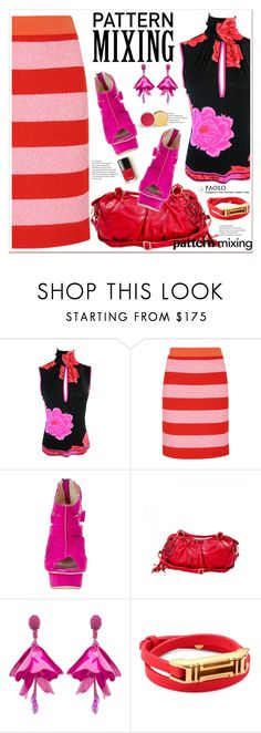 """Stay Bold: Pattern Mixing and PaoloShoes"" by spenderellastyle ❤ liked on Polyvore featuring Boutique Moschino, Handle, Oscar de la Renta, Tory Burch and patternmixing"