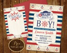 Nautical Baby Shower Invitation - Printable Ahoy its a Boy Invitation - Nautical Baby Shower Invite Card - 5x7 or 4x6 - Free Thank you Card