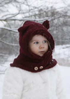KNITTING PATTERN hooded cowl Rowan with round ears and inner