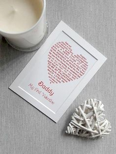 Daddy Valentine Card, UNFRAMED Personalised Print for Valentine's Day, Father Daughter gift, Dad Valentine, My First Valentine by UniqueWordDesigns on Etsy Daddy Valentine Gifts, Valentine Gift For Daughter, Valentines Day Gifts For Friends, Daddy Gifts, Girl Gifts, Father Daughter, Kids Valentines, Unique Cards, Miniture Things