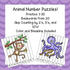 Number Puzzles for numbers 1-30, backwards form 20, and skip counting by 2's, 5's, and 10's!  18 color and blackline puzzles included!