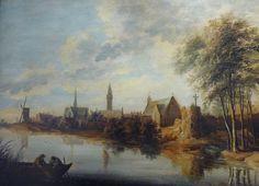 Jan van Goyen : View of a village bordering a river (Musée des beaux-arts de Quimper) 1596-1656 ヤン・ファン・ホーイェン