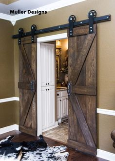 Enhance Your Home Interior With Barn Doors - Vintage Industrial Spoked European Sliding Barn Door Closet Hardware set. Barn Door Cabinet, Barn Door Hardware, Rustic Hardware, Window Hardware, Cabinet Hardware, Barn Door Closet, Rustic Closet, Barn Doors For Pantry, Entry Closet