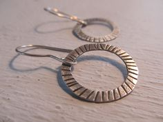 Striped Circles of sterling - hand forged and hand textured dangling hoop, metalsmith earrings, hand fabricated, made to order $35.