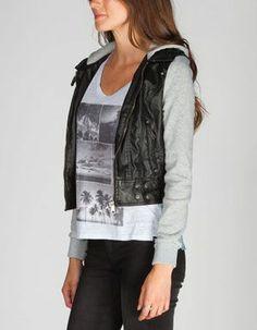 Leather Jacket With Fleece Sleeves - JacketIn