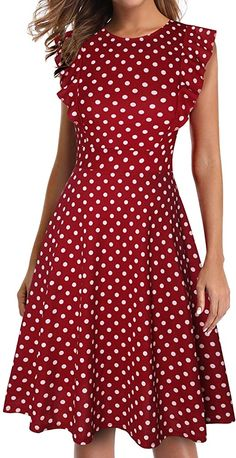 Vintage Ruffle Floral Flared A Line Swing Casual Cocktail Party Dresses for women, Wine Red Polka Dot / XX-Large Elegant Dresses, Beautiful Dresses, Vintage Dresses, Casual Dresses, Fashion Dresses, Party Dresses For Women, Summer Dresses, Office Wear Dresses, Classy Dress