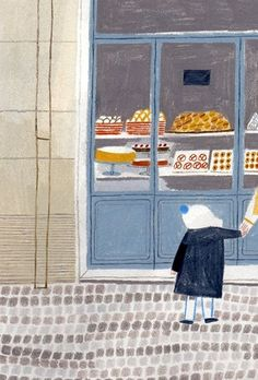 I adore window shopping scenes. This is so cozy! #windowshopping #illustrationart #happyillustrations