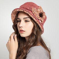 Pink flower bucket hat for women fashion wool blend felt winter hats Stylish Hats, Love Hat, Hat Making, Sun Hats, Hats For Women, Pink Flowers, Women's Accessories, Wool Blend, Bucket Hat