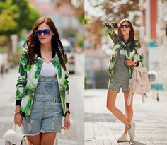 Get this look: http://lb.nu/look/7775234  More looks by Viktoriya Sener: http://lb.nu/viktoriyasener  Items in this look:  Mr. Gugu & Miss Go Bomber Jacket, Tomtop Romper, Zero Uv Sun Glasses, Mango Backpack, Mango Trainers   #chic #sporty #street