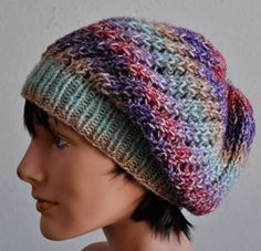Free knitting pattern for Treasure Slouchy Beanie great with multi-color yarn