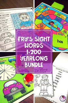 Learning to read and spell sight words is an important skill for your kindergarten, first grade, and second grade students. Teachers are always looking for fun ideas on how to accomplish this. This teaching resource includes the first 200 sight words fro Fry Sight Words, Sight Words List, Sight Word Practice, Sight Word Games, Sight Word Activities, Grammar Activities, Reading Activities, Teaching Resources, Reading Centers
