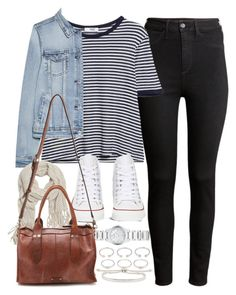 """Outfit for college with black jeans and Converse"" by ferned ❤ liked on Polyvore featuring H&M, MANGO, Converse, Burberry, With Love From CA, Frye, Forever 21 and Monica Vinader"