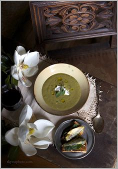 Creamy Roasted Asparagus Soup with Creme Fraiche