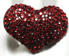 Red Rhinestone Heart Ring/Cocktail by victoriascharms on Etsy