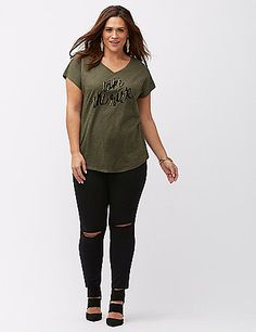 """""""Take the Risk"""" tee takes a daring approach with a flocked and foiled graphic for soft shine. V-neck and short sleeves. lanebryant.com"""