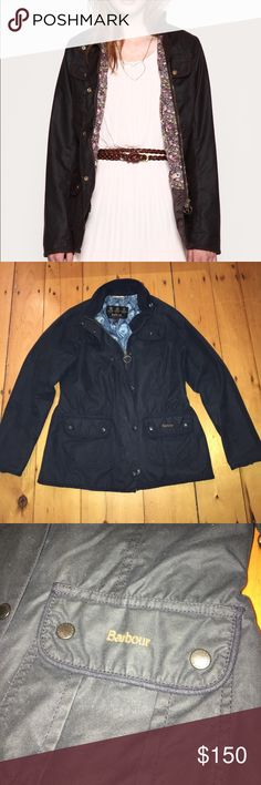Barbour Navy Kate Liberty Print Jacket 38 This is a special edition Barbour Kate Liberty feather print jacket. It has Barbour embroidered on the left bottom pocket and on the back of the collar. It's a gorgeous dark navy color and the print inside is so gorgeous. Tons of pockets and a small interior one as well. Please ask any questions you may have. Size 38, fits like a small Barbour Jackets & Coats Blazers