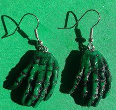 Zombie green skeleton earrings  Halloween goth by msformaldehyde, $6.00