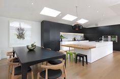 Black contemporary kitchen with white island #homedecor #kitchen #interiordesign