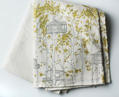 organic cotton blanket - tree houses. $98.00, via Etsy.