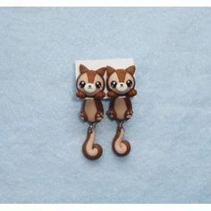 Squirrel Clinging Ears, cuelga orejas,earrings,pendientes,fimo,animal,ardillas,