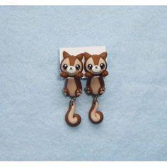 Squirrel Clinging Ears, cuelga orejas,earrings,pendientes,fimo,animal,ardillas,