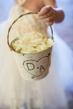 Contact The~Lil~Things for cute flower girl baskets custom made for your wedding day!