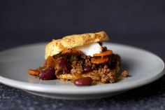 beef chili + sour cream cheddar biscuit by smitten, via Flickr