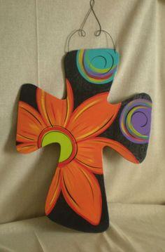 Painted Wooden Cross- Pinned for the pins Painted Wooden Crosses, Wood Crosses, Hand Painted, Painted Letters, Cross Door Hangers, Burlap Door Hangers, Paint Your Own Pottery, Cross Art, Crosses Decor