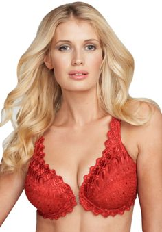 Embroidered Front Hook Underwire Bra by Amoureuse®