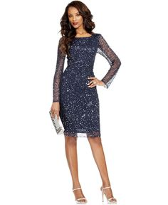 Patra Dress, Long-Sleeve Beaded Sequin - Mother of the Bride Dresses - Women - Macy's (this one is beautiful, but has a V-back. don't know what to do about that. )