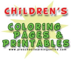 FREE kids coloring pages, coloring sheets & preschool printable for teaching kids & having fun.