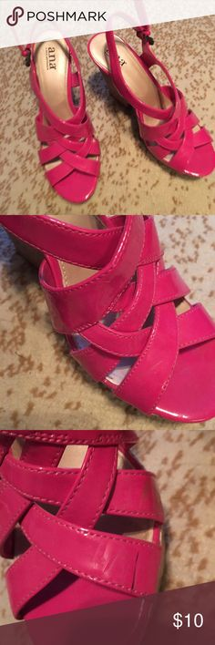 """Pink wedge heels Pink wedge heels. Size 9. 4 3/4"""" heel. Has wear on the inside of the shoes as pictured, wear on the heels and the soles. Price is negotiable and ships next day. Shoes Wedges"""