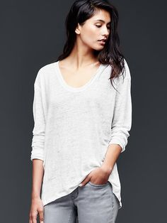 Linen scoop neck tee - An ultra-delicate knit in a soft and flattering fit that grows even softer with each wear.